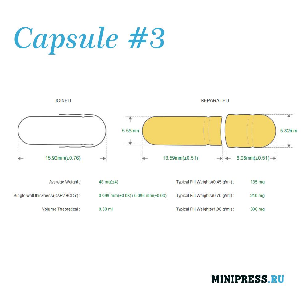 Твердые желатиновые капсулы размер 3