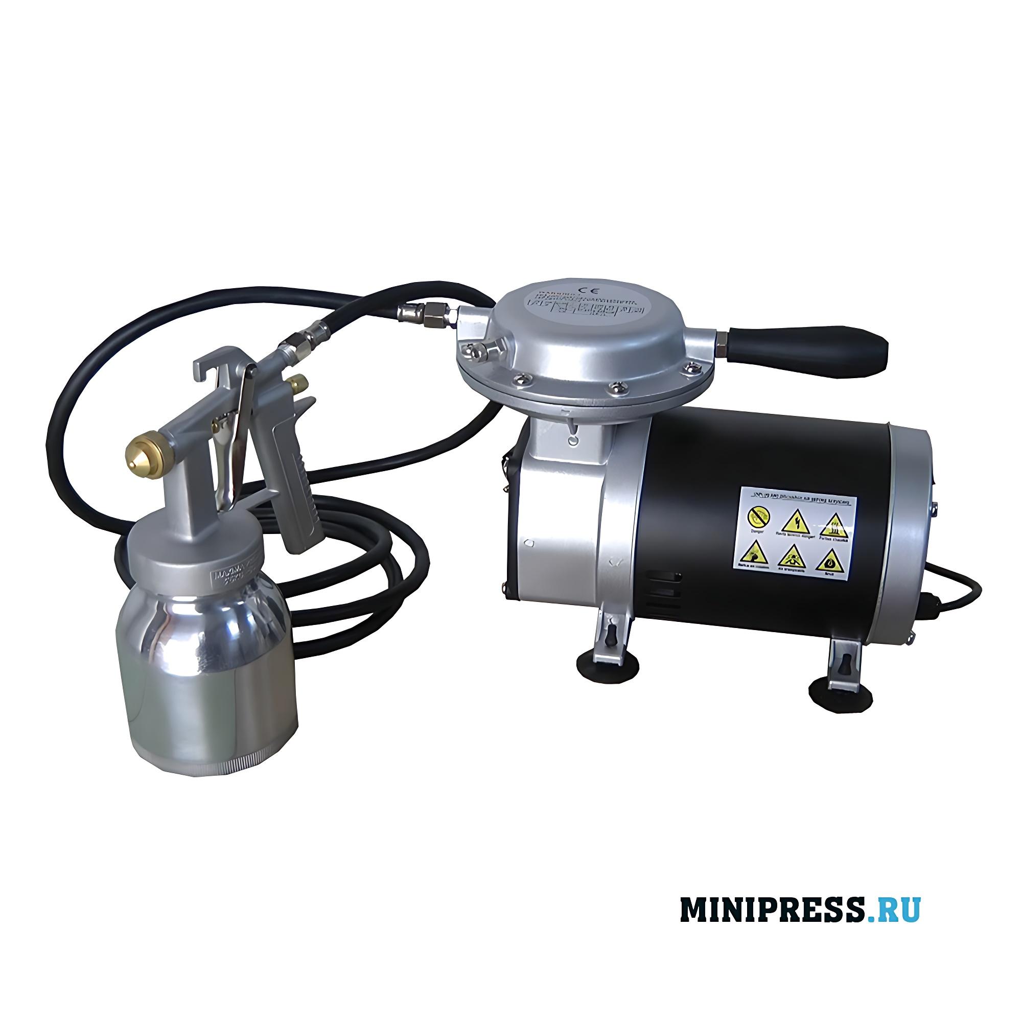 Распылитель с компрессором для аэрографии и нанесения оболочек